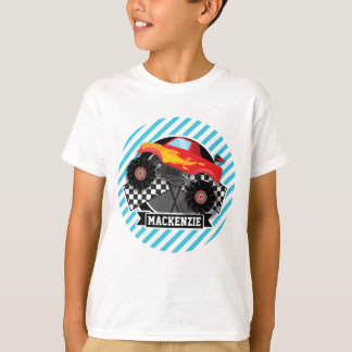 Camion de monstre rouge ; Drapeau Checkered ; T-shirt