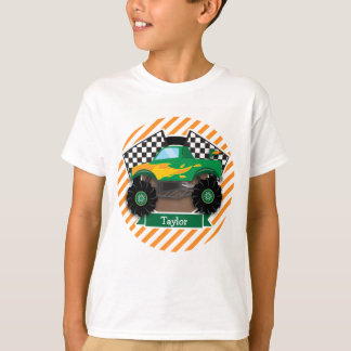 Camion de monstre vert, drapeau Checkered ; Rayure T-shirt