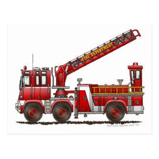 Camion de pompiers de crochet et d'échelle carte postale