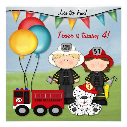 Camion de pompiers et petit anniversaire de pompie invitation personnalisable