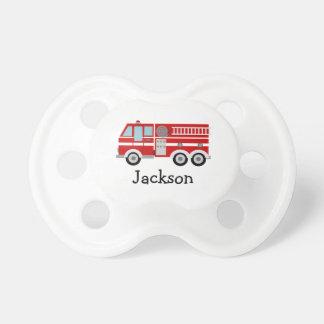 Camion de pompiers personnalisé tétine