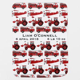 Camion de pompiers personnalisé, tracteur, date de couverture pour bébé