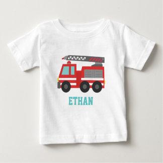 Camion de pompiers rouge mignon pour de petits t-shirt pour bébé