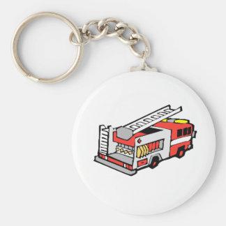 Camion de pompiers rouge porte-clé rond