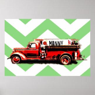 Camion de pompiers vintage rouge poster