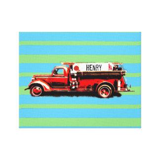 Camion de pompiers vintage rouge toile