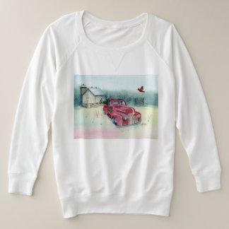 Camion rouge et la grange blanche