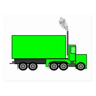 Camion vert de semi-remorque carte postale
