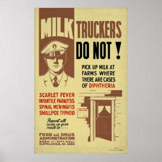 Camionneur FDA de lait avertissant la santé 1940 Posters