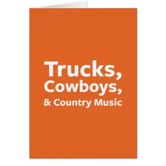 Camions, cowboys et musique country carte de vœux