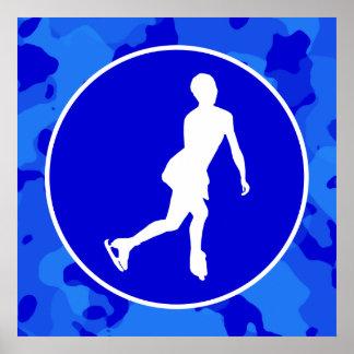 Camo bleu Patinage artistique de camouflage Posters