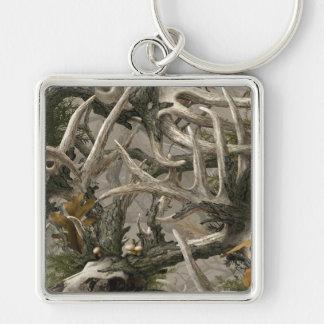 Camo de crâne de cerfs communs de région forestièr porte-clé carré argenté
