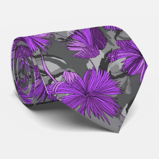 Camo fleurit le Simple-side gris floral imprimé Cravate