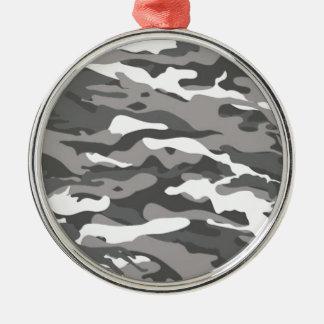 Camo gris ornement rond argenté