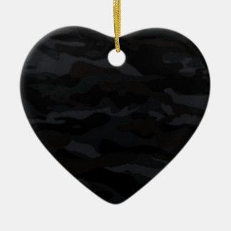Camo noir ornement cœur en céramique