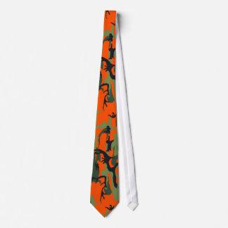 Camo orange et vert de sécurité cravate avec motifs