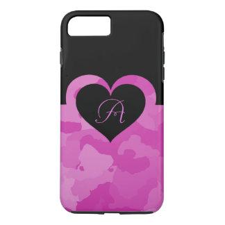 Camo rose avec l'initiale personnalisable de coque iPhone 7 plus