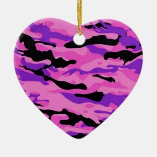 Camo rose ornement cœur en céramique