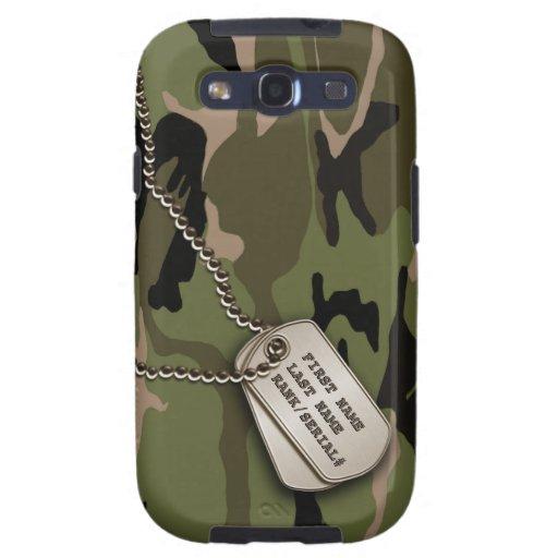 Camo vert militaire avec l'étiquette de chien coques samsung galaxy s3
