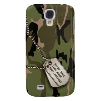 Camo vert militaire avec l'étiquette de chien coque galaxy s4