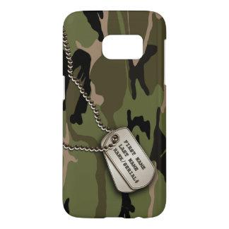 Camo vert militaire avec l'étiquette de chien coque samsung galaxy s7