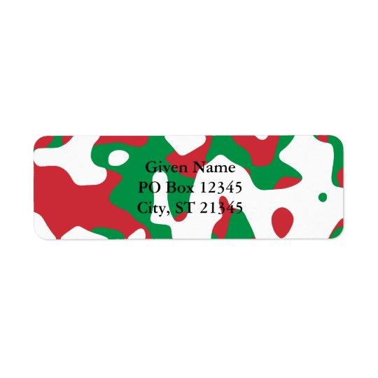 Camouflage de Noël Étiquette D'adresse Retour
