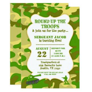 Camouflage d'invitation d'anniversaire de soldat carton d'invitation  12,7 cm x 17,78 cm