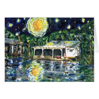 Camp de rivière de nuit étoilée carte de vœux