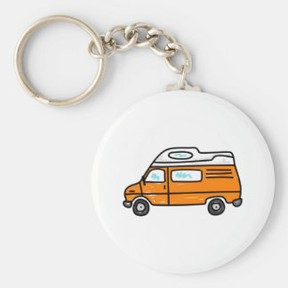 Campervan orange porte-clé rond