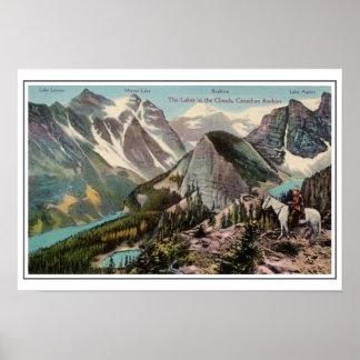 Canadien vintage les Rocheuses, lacs dans les nuag Affiches