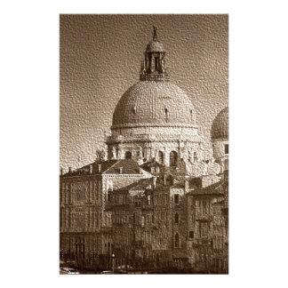 Canal grand de Venise d'effet de papier de sépia Papier À Lettre Personnalisable