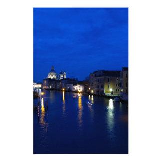 Canal grand de Venise par nuit Papier À Lettre Personnalisé