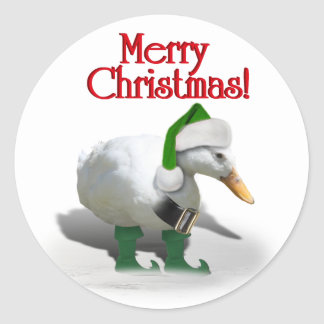 Canard d'Elf de Noël - l'aide de Père Noël Sticker Rond