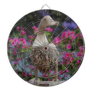 Canard en bois avec des fleurs jeu de fléchettes