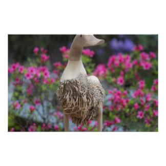 Canard en bois avec des fleurs papier à lettre customisable