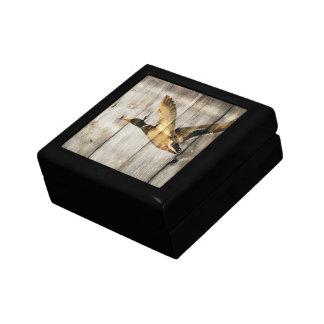 Canard en bois de canard de pays occidental de petite boîte à bijoux carrée