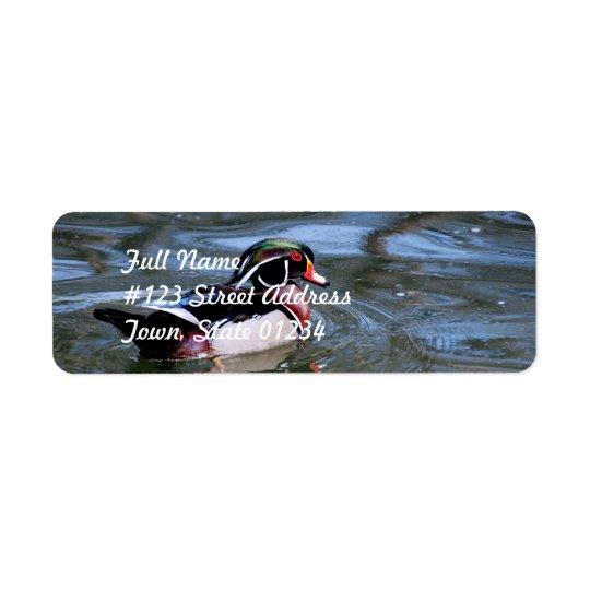 Canard en bois de natation étiquette d'adresse retour