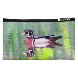 Canard en bois de natation pochette make-up