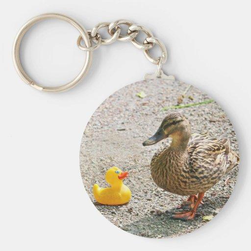 Canard en caoutchouc et canard de mère porte-clefs