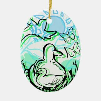 Canards dans les cattails vert et bleu ornement ovale en céramique