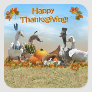 Canards de thanksgiving sticker carré
