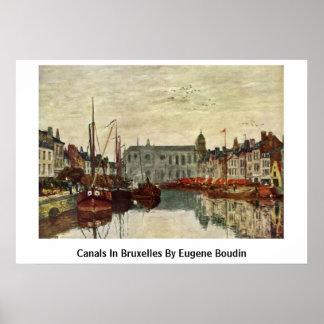 Canaux à Bruxelles par Eugene Boudin Affiches