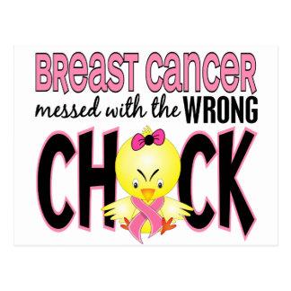 Cancer du sein sali avec le poussin faux carte postale