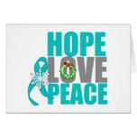 Cancer ovarien de paix d'amour d'espoir de vacance carte