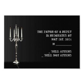 Candélabres gothiques sur la réponse argentée carton d'invitation 8,89 cm x 12,70 cm