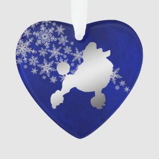 Caniche argenté bleu de flocon de neige