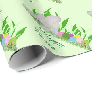 Caniche avec l'herbe et les oeufs papier cadeau