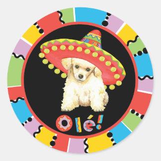 Caniche de jouet de fiesta sticker rond