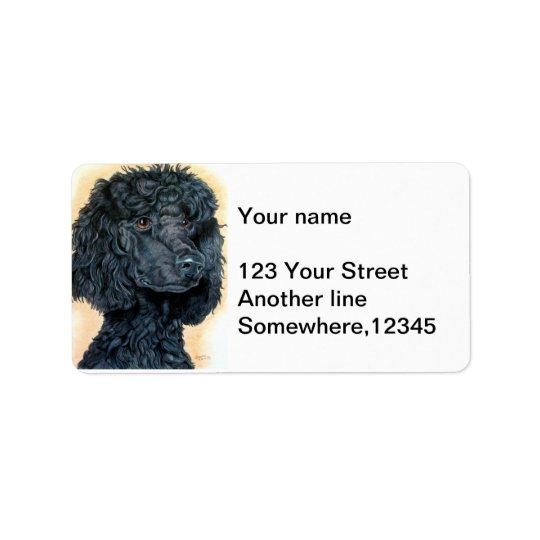 Caniche noir étiquette d'adresse