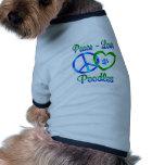Caniches d'amour de paix t-shirts pour animaux domestiques